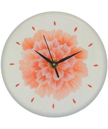 Peonia, orologio da parete in legno