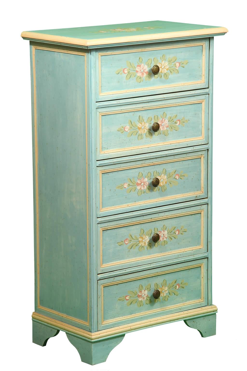 Cassettiera in legno decorato isabelle decorosa for Cassettiera legno
