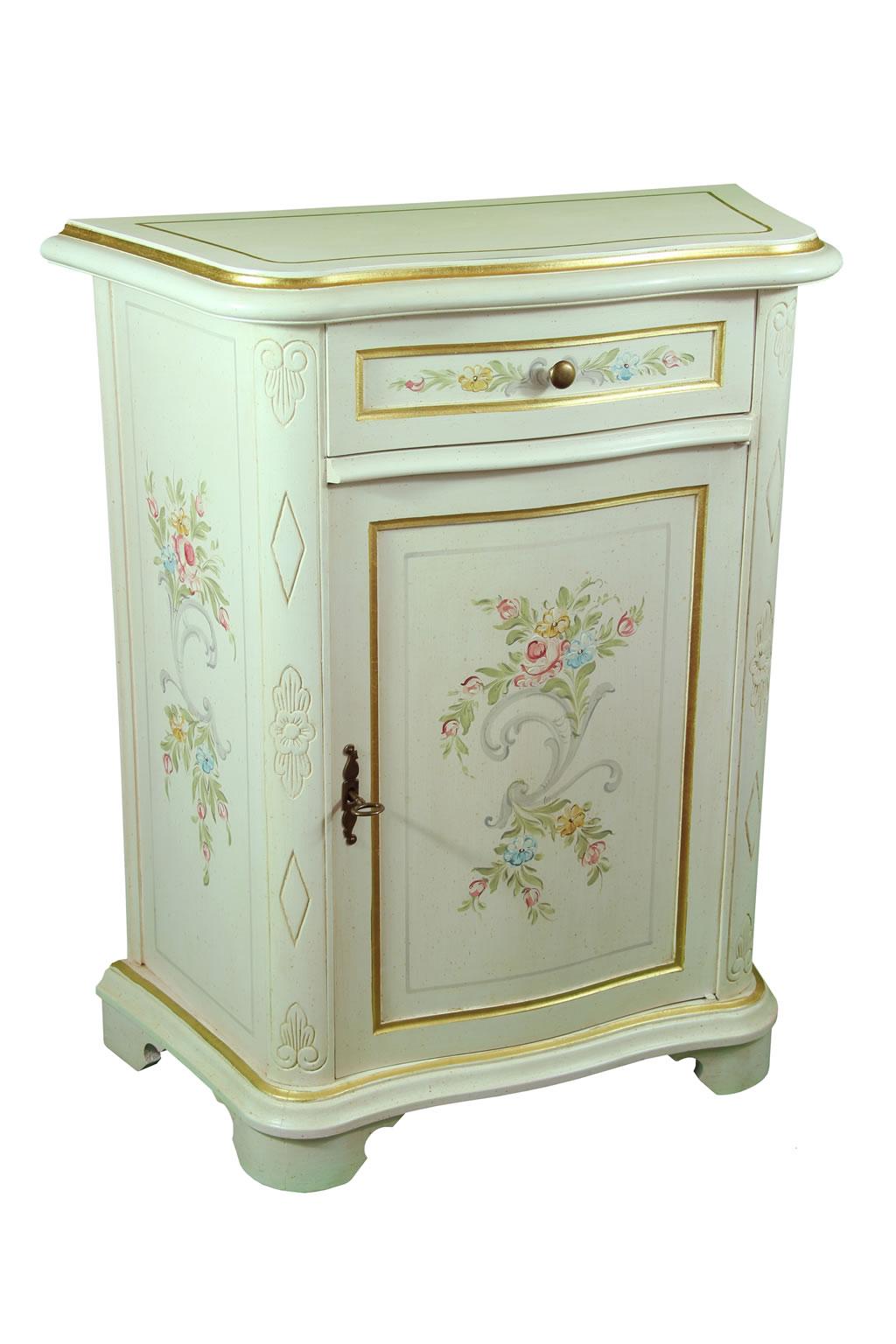 Mobiletto in legno decorato con 1 anta e un 1 cassetto \