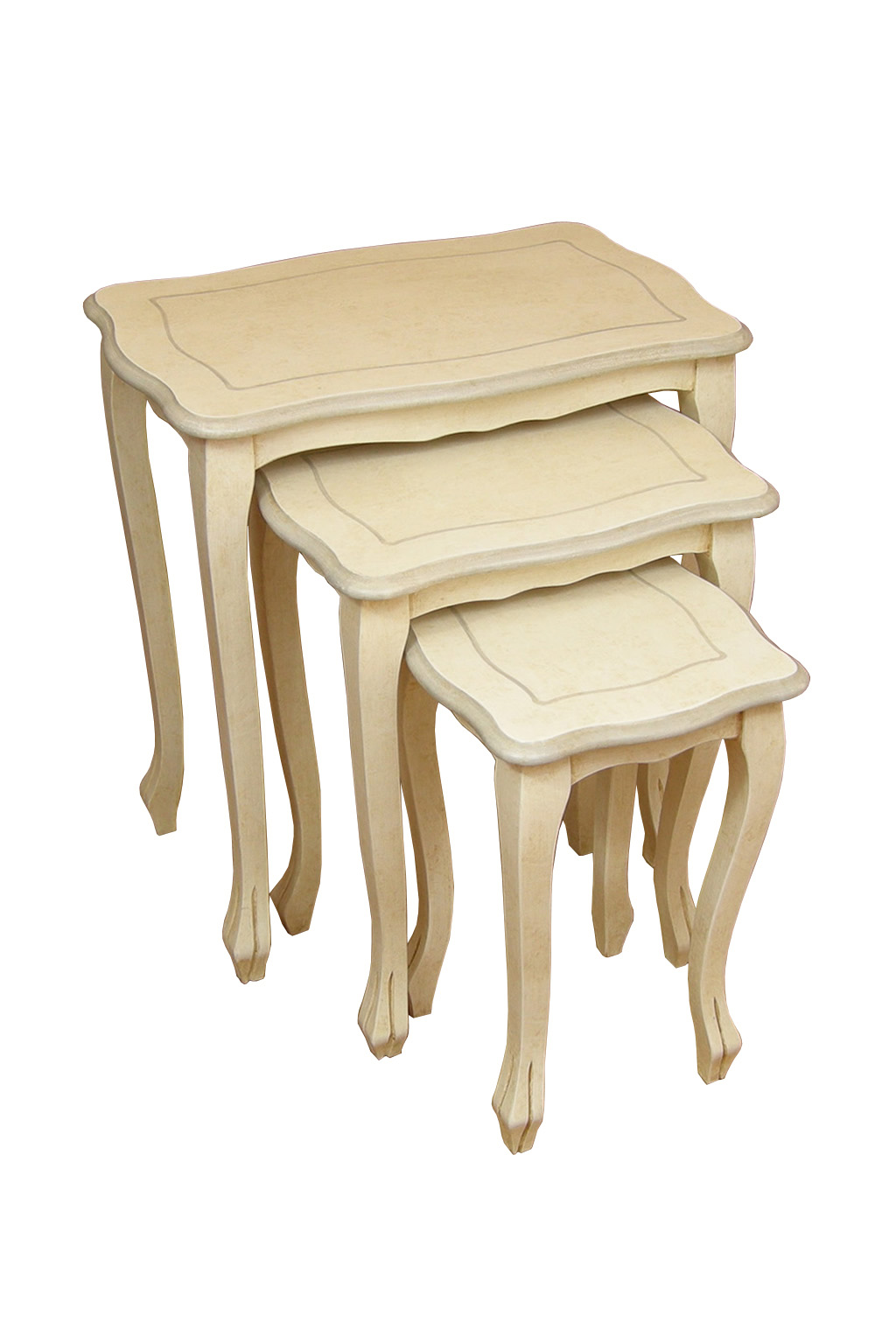 Tavolini tris in legno dipinto berl decorosa for Tavolini in legno