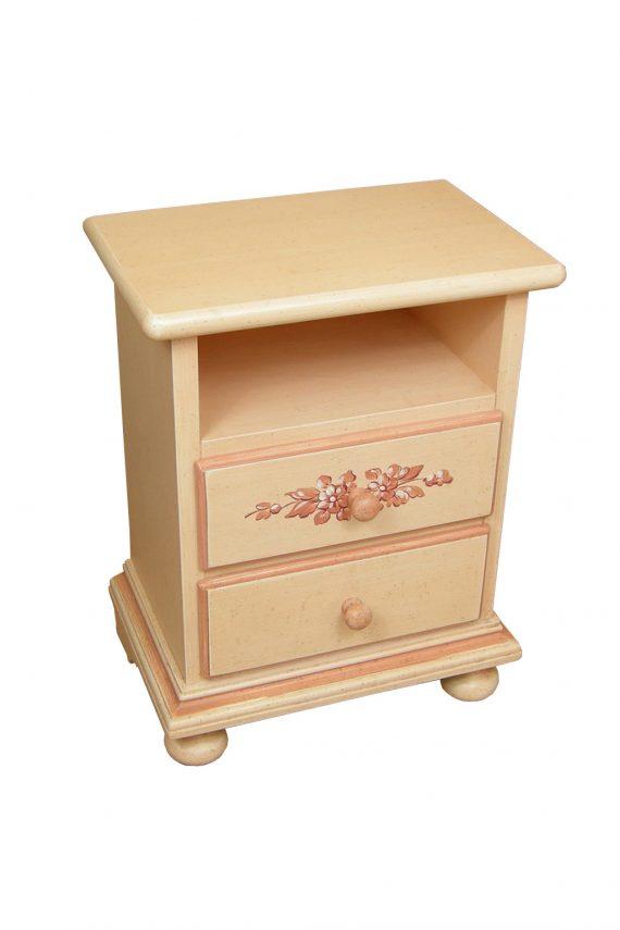 mobiletto comodino in legno decorato