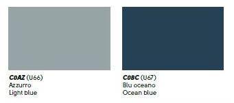 colori cuoio azzurro, blu oceano