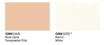 colori cuoi rosa cipria, bianco