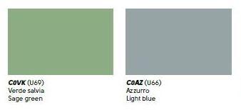 colori cuoio verde salvia, azzurro