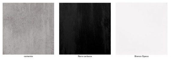 Colori ripiani bianco opaco, cemento, nero carbone