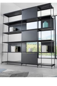 Loft L libreria in acciaio e laminato