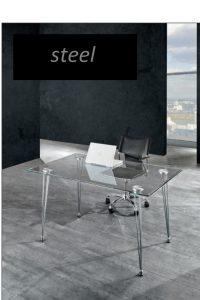 steel scrivania con piano in vetro