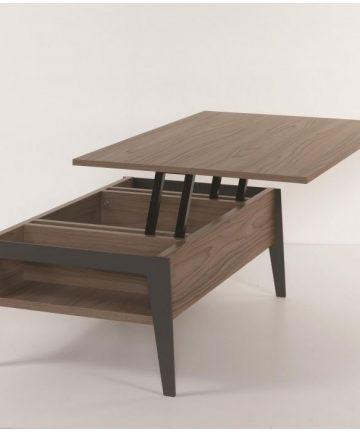 Big slide tavolino contenitore noce aperto
