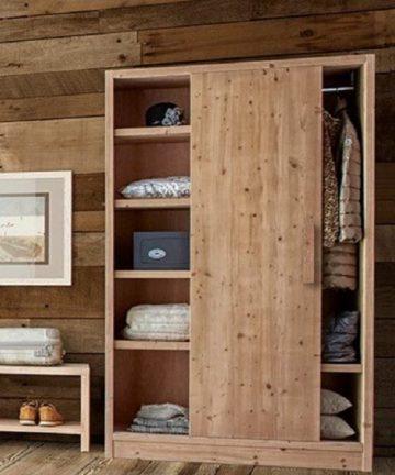 Dolomite armadio in legno con libreria anta scorrevole aperta