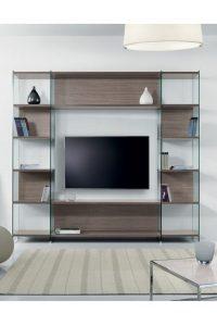 Eden libreria con struttura in vetro porta tv