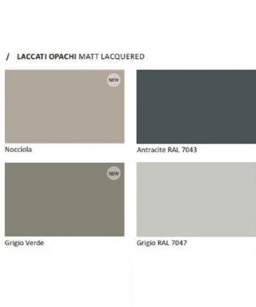 Laccati opachi nocciola, antarcite, grigio verde, grigio