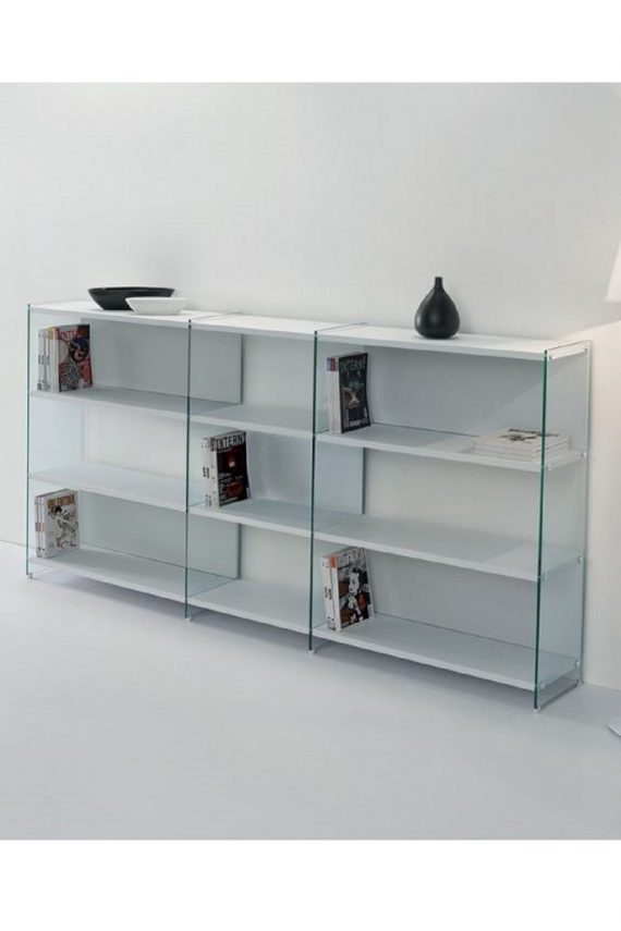 Quadra libreria con struttura in vetro