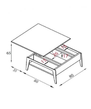 Slide tavolino contenitore misure