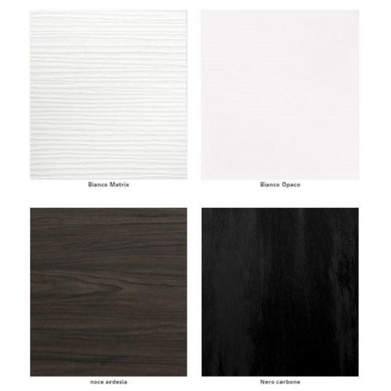laminato bianco matrix, bianco opaco, noce ardesia, nero carbone