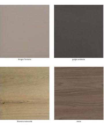 laminato grigio tortora, grigio ardesia, noce, rovere naturale