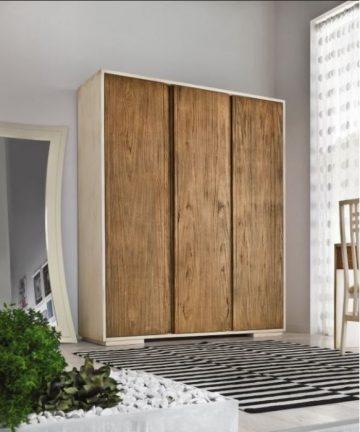 Brennero armadio 3 ante in legno colore fusto bianco pennellato brown-ante brown sabbiato