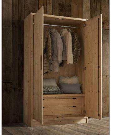 Cervino armadio 2 ante in legno aperto