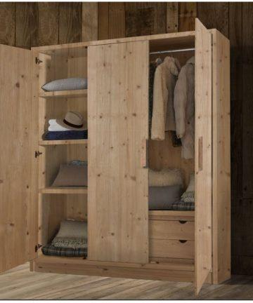 Cervino armadio 3 ante in legno aperto