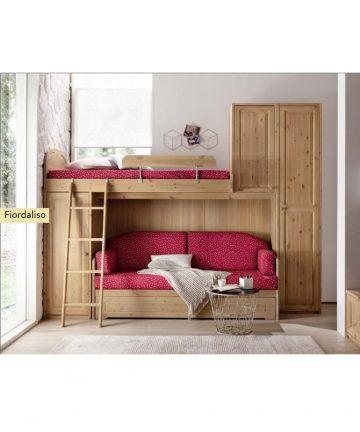 Fiordaliso cameretta con letto a soppalco in legno