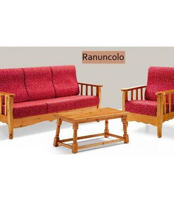 Ranuncolo divano country fusto miele tessuto fiorato rosso
